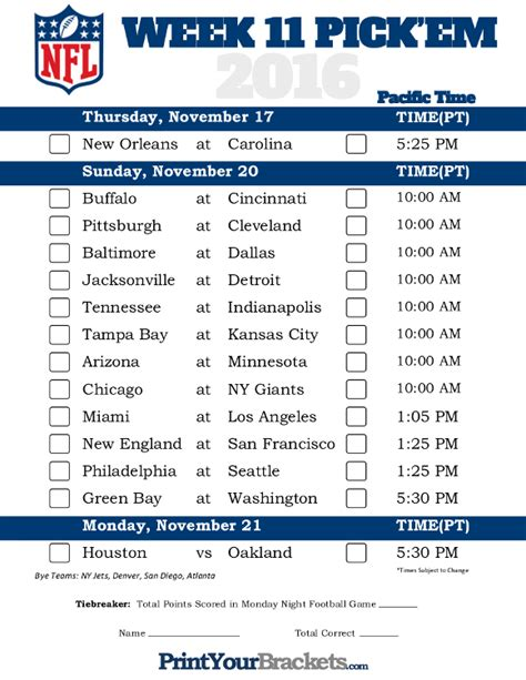 printable nfl schedule for this week pacific time week 11 nfl schedule 2016 printable