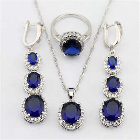 925 sterling silver flawless blue sapphire jewelry sets