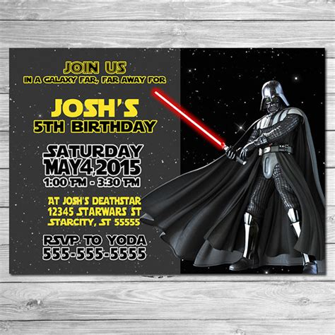 darth vader birthday card template 20 wars birthday invitation templates free sle