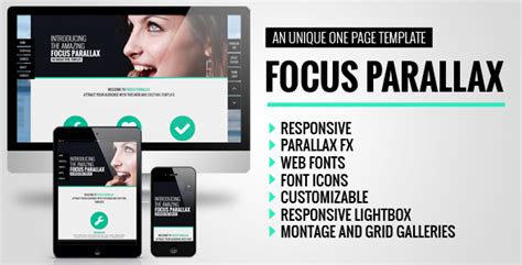 Focus Parallax One Page Html Template By Bobbydigitals Themeforest Parallax Page Template