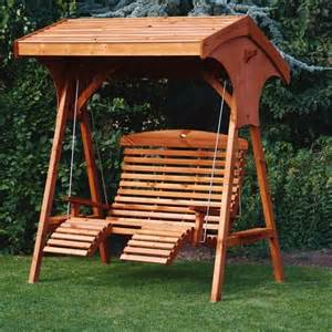 Patio Swing With Leg Rest Garden Swings Roofed Comfort Wooden Garden Swing Seat Uk