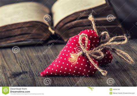 Handmade Hearts - valentines day cloth handmade hearts on wooden