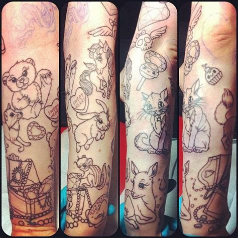 woodland tattoo designs added woodland creatures a treasure chest more gems