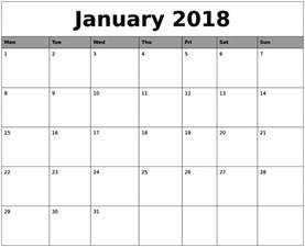 Calendar 2018 January Template January 2018 Calendar Printable Template Pdf Uk Usa Canada