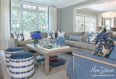gray and blue living room gray sectional with blue accents transitional living room