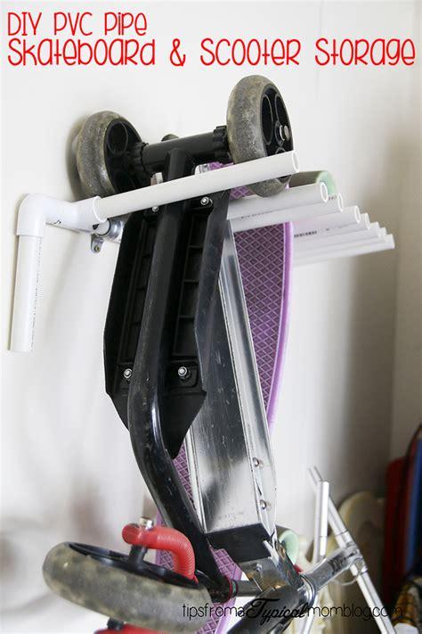 diy pvc pipe skateboard  scooter storage rack   garage