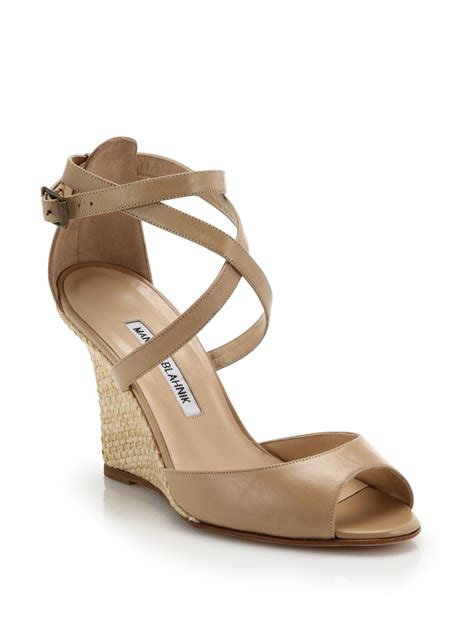 raffia sandals manolo blahnik raffia wedge leather sandals in lyst