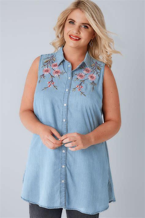 Fei Li Button Motif Leather Handbag Set Pastel blue denim sleeveless shirt with floral embroidery plus