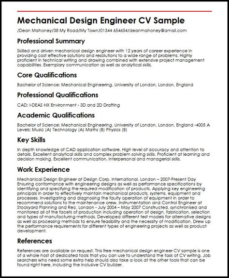 template curriculum vitae engineer mechanical design engineer cv sle myperfectcv