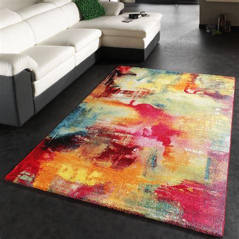 teppich bunt modern teppich modern design teppich leinwand optik multicolour