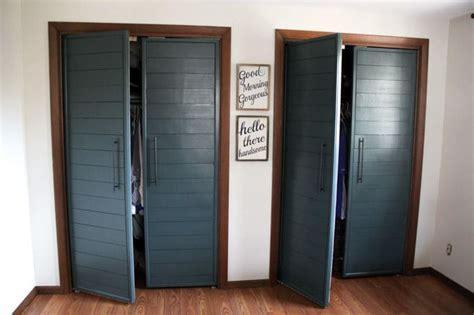 rv closet doors bi fold to faux shiplap closet doors bright green
