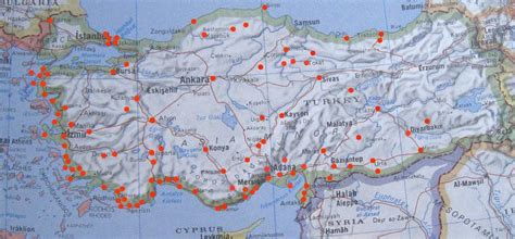 turkey archaeological sites map map of the towns and archaeological sites in the republic