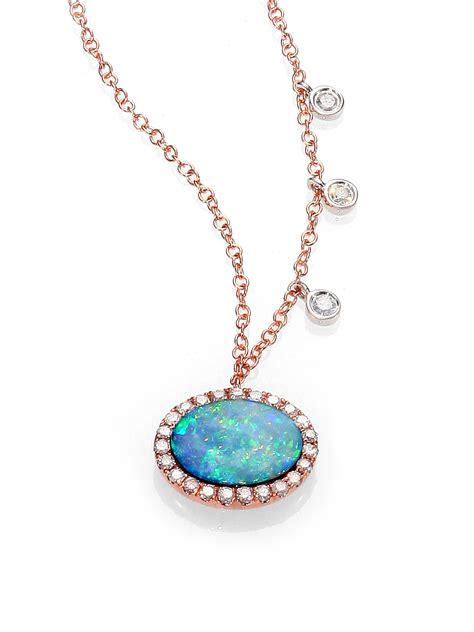 blue opal necklace meira t opal 14k rose gold pendant necklace in