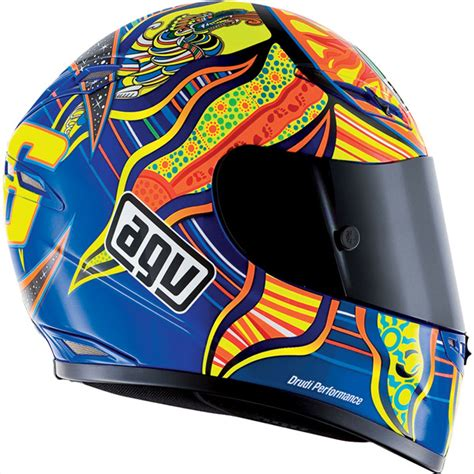 agv gp tech valentino rossi   continents full face race helmet yellowblue ebay