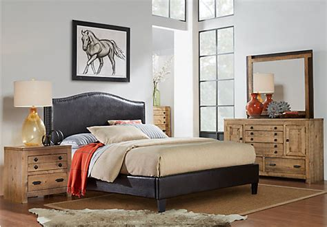 Driftwood King Bedroom Set by Asher Driftwood 5 Pc Bedroom With Brown Upholstered