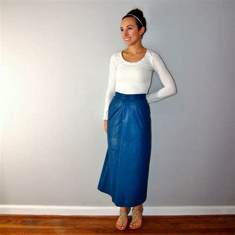 Buy Duvet Covers Vintage 80s Blue Leather Skirt High Waist Indigo Teal Body