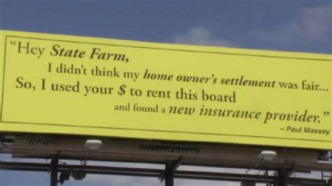 slams state farm insurance with billboard