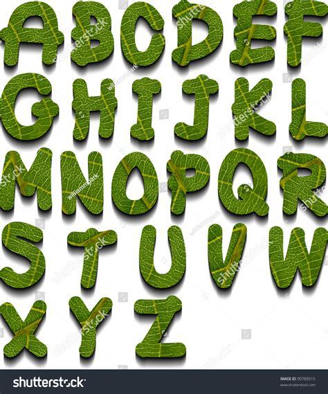 printable leaves with letters leaf alphabet font stock vector illustration 90789515