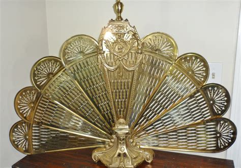 vintage deco cameo brass peacock fan style