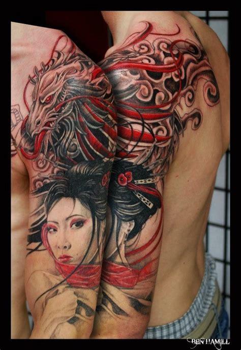 Geisha Tattoo With Dragon | dragon and geisha tattoo design of tattoosdesign of tattoos