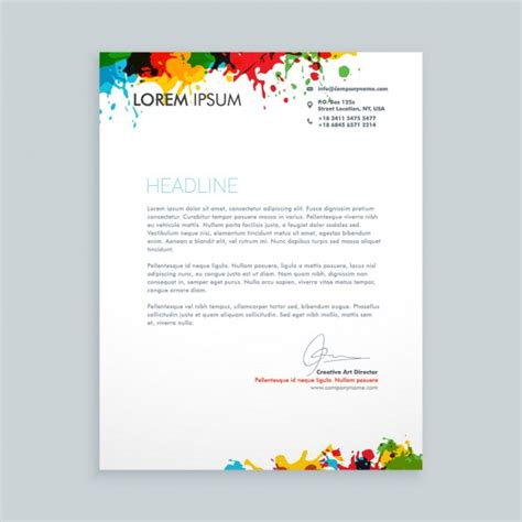 letterhead template sbi letter with colorful ink splash letterhead vector free