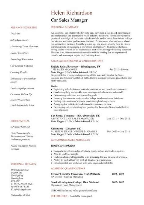 car resume exles car sales manager resume template resume help