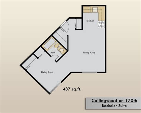floor plan of a bachelor flat edmonton apartments for rent callingwood on 170th