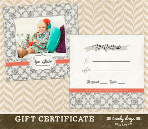 photography gift certificate template for by
