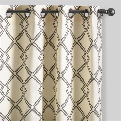 lattice drapes charcoal gray lattice cotton curtains set of 2 world market