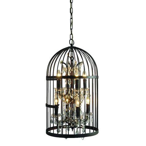 Cage Chandelier Y Decor 8 Light Rustic Black Cage Chandelier Lz2079 4 4rr The Home Depot