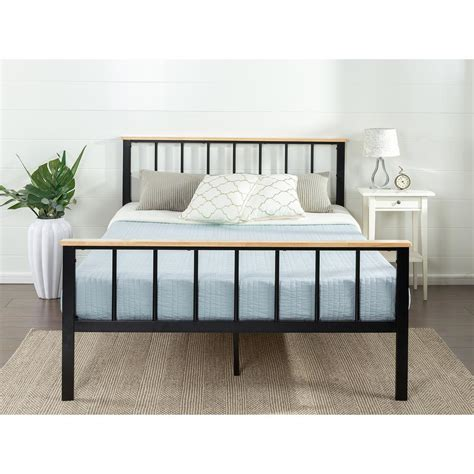 queen metal platform bed frame rest rite 14 in queen metal platform bed frame mfp00112bbqn the home depot