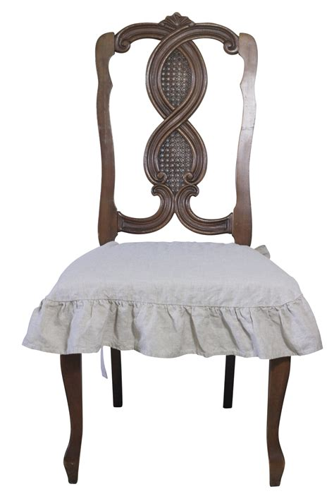 french country linen chair seat slipcover  ruffle
