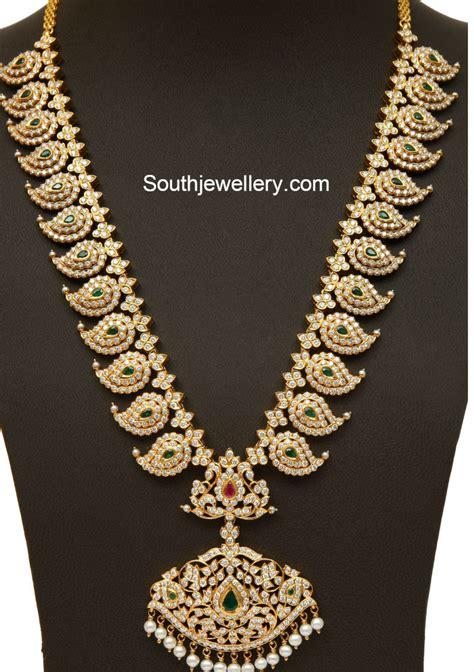 diamond emerald mango mala jewellery designs