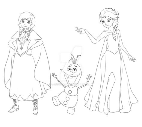 frozen coloring pages anna and elsa and olaf frozen anna olaf elsa by acesla on deviantart