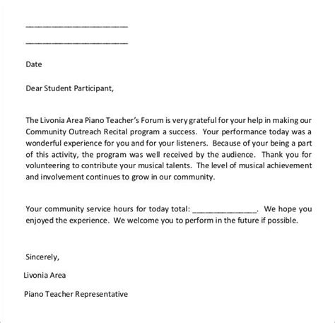 Sle Of Community Service Letter With Hours community service letter 7 free smileydot us