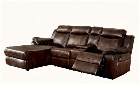 brown reclining sectional hardy cm6781br reclining sectional sofa in brown leatherette