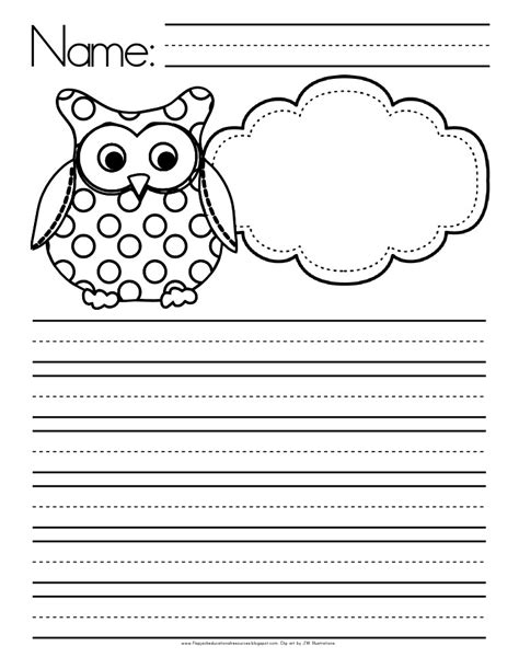 themed writing paper template owl themed writing paper free flapjack educational