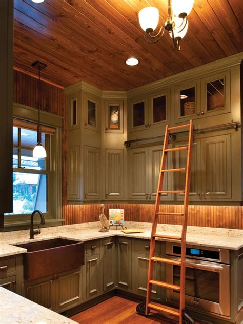 library ladder in kitchen farmhouse country kitchen painted farm style kitchen