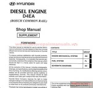 hyundai diesel engine d4ea shop manual auto repair