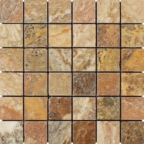 2x2 Floor Tile by White Marble Desginer Scabos Mosaic 2x2 Tumbled Mosaic