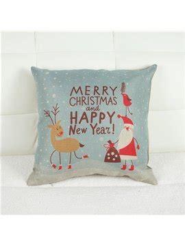 santa claus elk design merry christmas theme linen throw