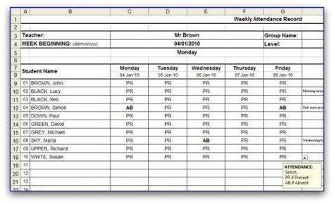 Weekly Attendance Sheet Attendance Sheet Template Excel
