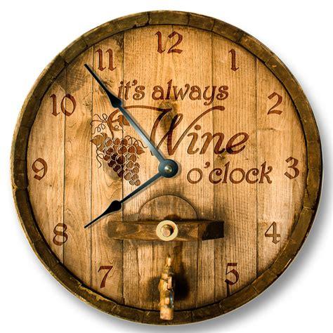 its always wine o clock wall clock wooden cask lid