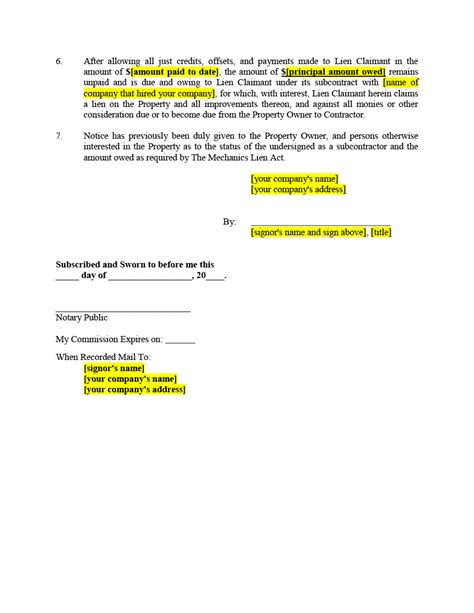 Demand Letter Mechanics Lien Subcontractor Filing A Lien Form Mechanics Liens