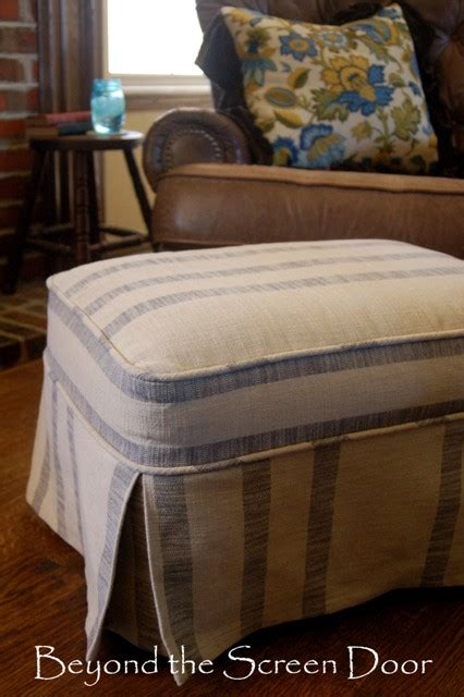 how to slipcover an ottoman before after ottoman slipcovers beyond the screen door