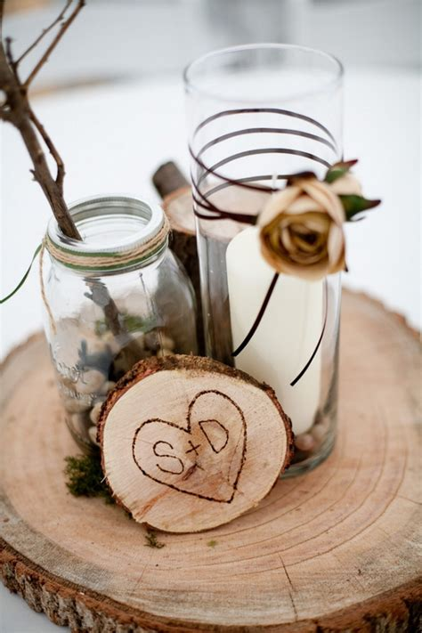 wood centerpieces for tables winter wedding decorations from the forest wedding