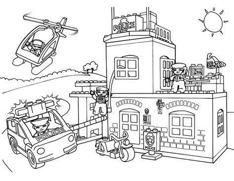 lego education coloring pages lego police station coloring pages with car helicopter and