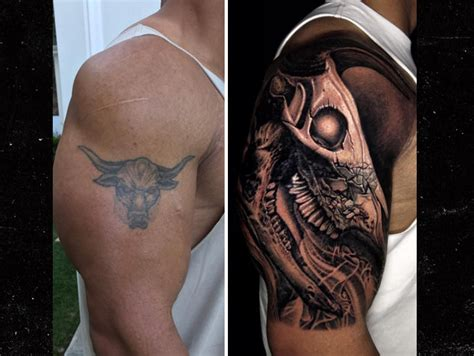 the rock covers up iconic bull tattoo with bigger bull