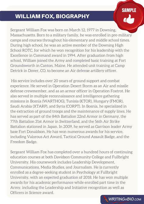 army biography format army bio sle