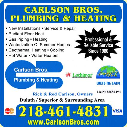 Brothers Plumbing And Heating by Carlson Bros Plumbing And Heating Duluth Mn 55806 1826